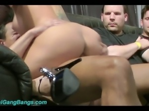 Brunette busty beauty rides and sucks dicks on the couch