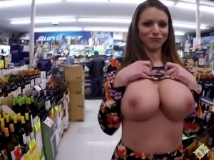 Brooklyn flashes her massive tits and big ass in public