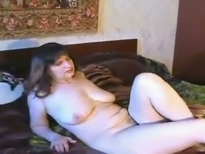 Mature fat and busty Russian lady was caught on hidden camera
