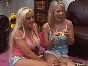 Alexis Silver, Riley Evans and one of their girlfriends, get together for a CFNM