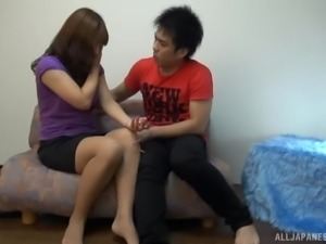 Homemade sex video of an amateur Japanese couple fucking hard