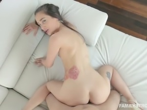 Pallid cutie Gia Paige gets her ass smacked a bit during steamy doggy