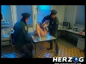 Slutty blonde police girl watches porn and masturbates at work