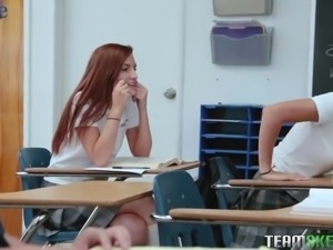 Nerdy college chick Izzy Bell gets laid in the presence of sleeping teacher