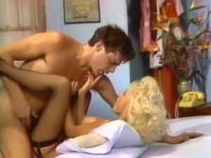 Large cock of perverted jerk penetrates wet pussy of slutty bitch