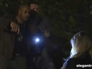 Kimber Delice calls for police and gets nailed by four aroused studs at once