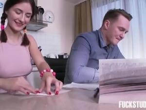 Cute fresh girl Ambika Gold jumps onto the table and sucks tasty dick