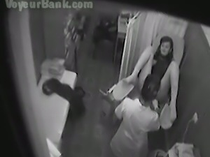 Hidden cam video from the office of a gynecologist with her patient