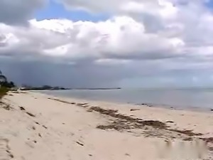 Horny girlfriend gives great blowjob on a beach outdoor