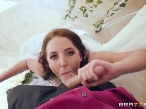 During her wedding, busty bride Angela White has a butt plug in