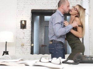 New secretary Tequila Girl goes home with her boss for some extra work