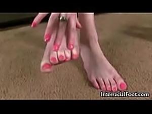 Black Meat White Feet - Interracial Foot Fetish Video 02