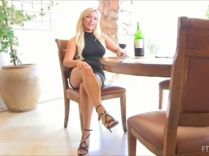 Superb Embry uses a champagne bottle as a dildo