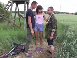 Suzy Rainbow has a blast while being fucked by a couple of men