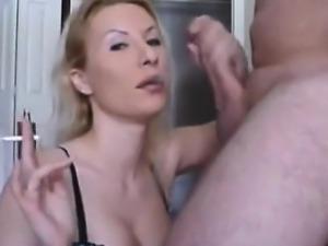 Smoking MILF eats dick and cum on webcam