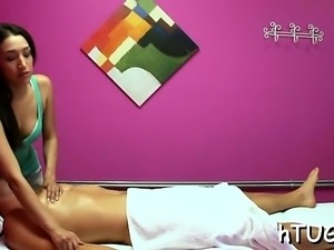 Hot fleshly massage by hottie makes this guy extra slutty