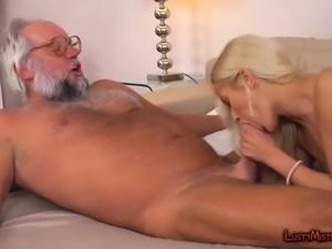 Nasty old pervert fucks blonde MILF