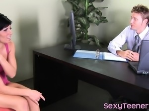 Teen babe throats doctors cock at the office