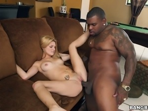 Huge black monster cock ravishes a blonde's tight beaver