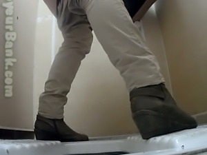 White chick in the public restroom cleans her pussy on hidden cam