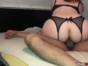 Big ass girlfriend rides her man to orgasm at home