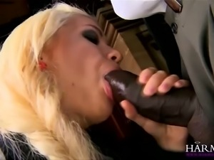 Naughty college chick blows big black cock with a great pleasure