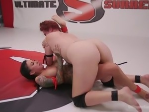 lesbian wrestler loses and gets face fucked