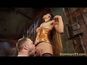 Dominating oriental TS facializing male sub