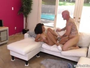 Black butt Ariana face fucked in interracial porn