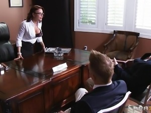 Alluring milf with fake tits swallowing cum after getting her anal jammed...