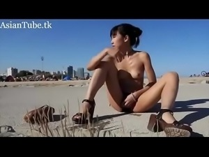 Asian girl squirts in public beach - AsianTube.tk