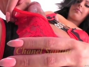 Lonely fervent ladyboy with dark hair Chanel Santini is ready for some solo