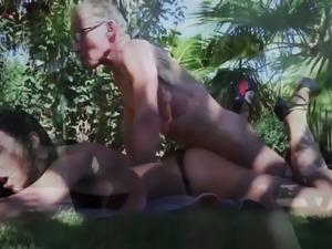 Teen Interrupts Grandpa from Yoga And Sucks his Cock