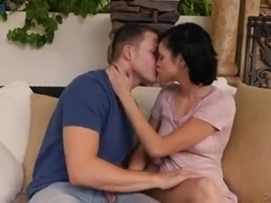 Flirty short haired brunette is more than ready to get her holes hammered