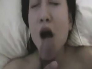 Asian babe gives me a classic blowjob