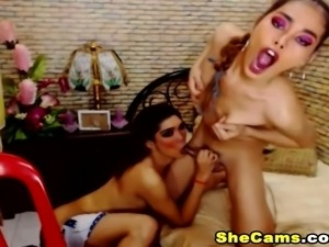 Horny Shemale Duo Suck and Fuck