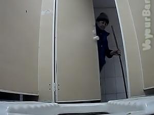 Fine amateur white booty of a stranger white girl in the restroom