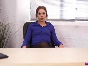 When this office girl gets bored at work she likes to play with her dildo
