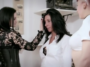 Perverted mistress Alissa Noir and her sexy maid punish one brunet milf