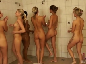 Adventurous lesbian bitches having an orgy in the shower