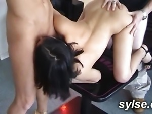 TEEN: Her first threesome with MILF and old man