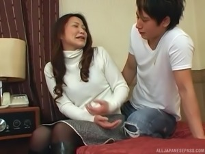 Lovely Japanese woman opens her legs for a plowing experience