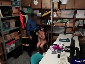 Petite shoplifter Lily Adams twat rammed by nasty LP officer