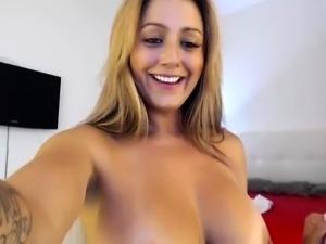 Horny blonde milf with DD boobs