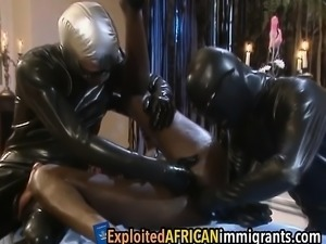African sex slave is getting pounded from all angles by