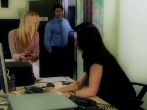 Hot titless brunette Stoya gets fucked from behind in an office