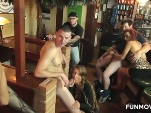 Lots of dudes get served great by huge breasted bar sluts at once
