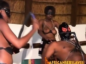 Foursome blowjob and deepthroat with hot African sluts and