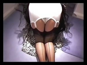 Platex Girdle With Black Seamed Stockings