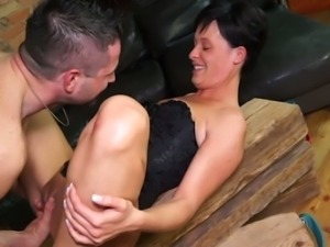 Dirty short haired Euro wife gives such a tremendous ride on top